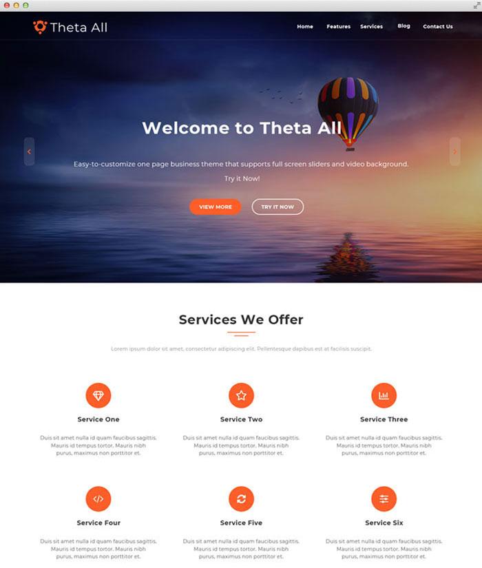 Theta MultiplePurpose one page WordPress Theme